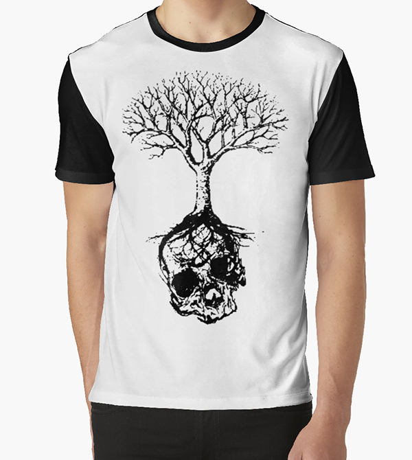 Buy now skull and tree t-shirt design