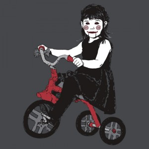 Saw Girl Puppet Graphic T-Shirt