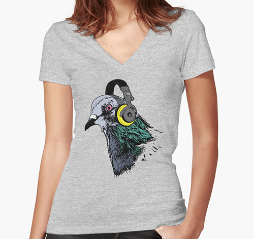 Techno Pigeon 2 Women's Fitted V-Neck T-Shirts