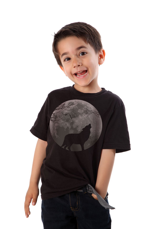 Boy wearing black howling wolf graphic t-shirt