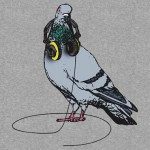 Techno Pigeon graphic t-shirt design