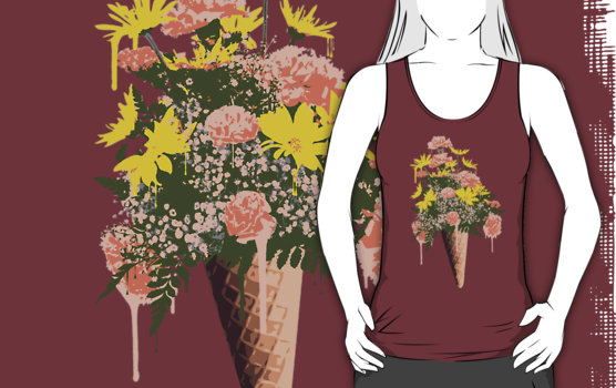 Spring Flowers and Ice Cream Graphic T-Shirt